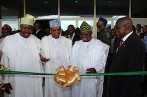 GMD, Odu'a Investment, Mr. Adebayo Jimoh, Governor Abiola Ajimobi, former and present Chairman of Odu'a, Chief Sharafadeen Alli, and Prince Julius Adelusi-Adeluyi