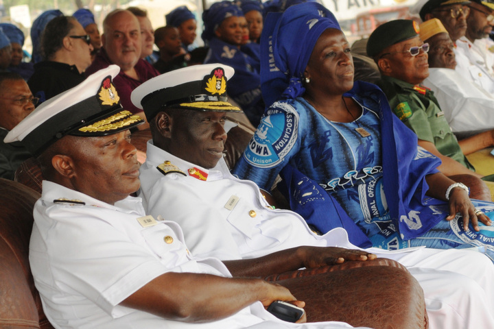FROM LEFT: FLAG OFFICER, WESTERN NAVAL COMMAND, REAR ADM. ETTE IBAS; REPRESENTATIVE OF CHIEF OF NAVAL STAFF, REAR ADM. EMMANUEL OGBOR; PRESIDENT, NAVAL OFFICERS' WIVES ASSOCIATION, MRS VIVIAN EZEOBA AND GOC, 81 DIV., MAJ.-GEN. OBI UMAHI,  DURING THE ARRIVAL OF NNS THUNDER IN LAGOS FROM AUSTRALIA AFTER A FOUR-MONTH SAIL AROUND THE WORLD  ON WEDNESDAY (18/12/13).