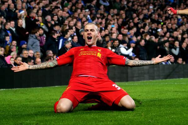 Daniel Agger Celebrates Liverpool's Opener.