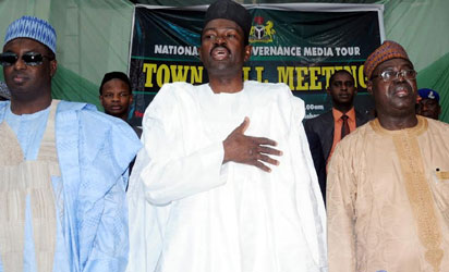 FROM LEFT: GOV. MUKHTAR YERO OF KADUNA STATE; MINISTER OF INFORMATION, MR LABARAN MAKU AND DEPUTY GOV. AMB. NUHU BAJOGA, AT THE NATIONAL GOOD GOVERNANCE TOUR TOWN HALL MEETING IN KADUNA ON TUESDAY