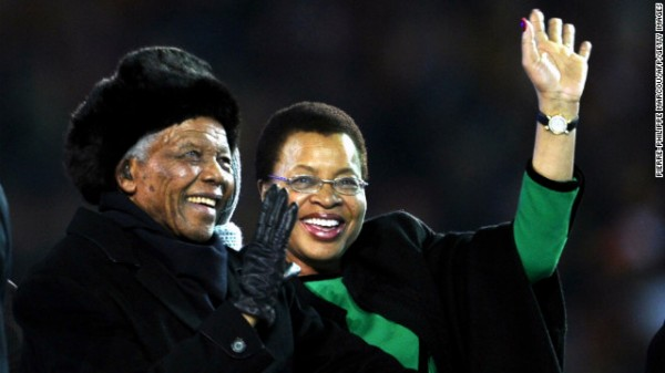 Mandela Arrives the Scene of the 2010 World Cup Final in the Company of His Third Wife, Graca Machel.