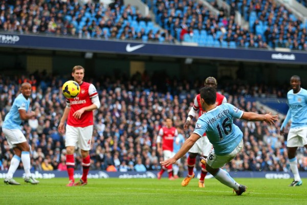 Kun Aguero's First-half Volley Against Arsenal on Sunday Was His 13th League Goal of the Season.