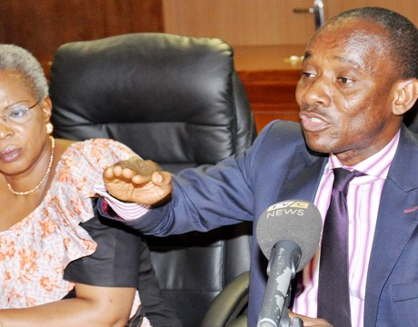 CHAIRMAN, NIGERIAN ELECTRICITY REGULATORY COMMISSION (NERC), DR SAM AMADI (R), WITH COMMISSIONER, ENGINEERING STANDARDS AND SAFETY,  NERC, MRS MARY AWOLOKUN, DURING A NEWS CONFERENCE ON NON-INCREASE OF ELECTRICITY TARIFF IN ABUJA ON WEDNESDAY