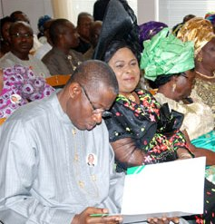 President Goodluck Jonathan; his wife, Patience; mother of the President, Mrs Eunice Jonathan during a Memorial Service for the Late Nelson Mandela at Aso Villa Chapel, Presidential Villa, Abuja