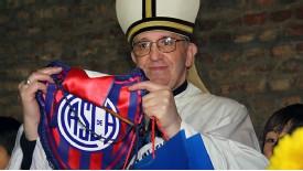 The Then Cardinal Jorge Mario Bergoglio Displays San Lorenzo's Jersey.