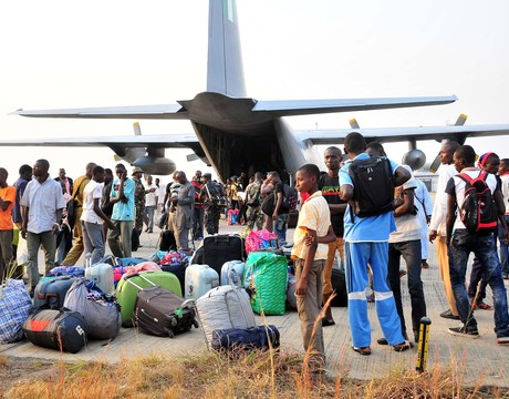 TRAPPED NIGERIANS EVACUATED FROM THE CENTRAL AFRICAN REPUBLIC ON THEIR ARRIVAL AT THE NNAMDI AZIKIWE INTERNATIONAL AIRPORT IN ABUJA ON SATURDAY (CREDIT: NAN)