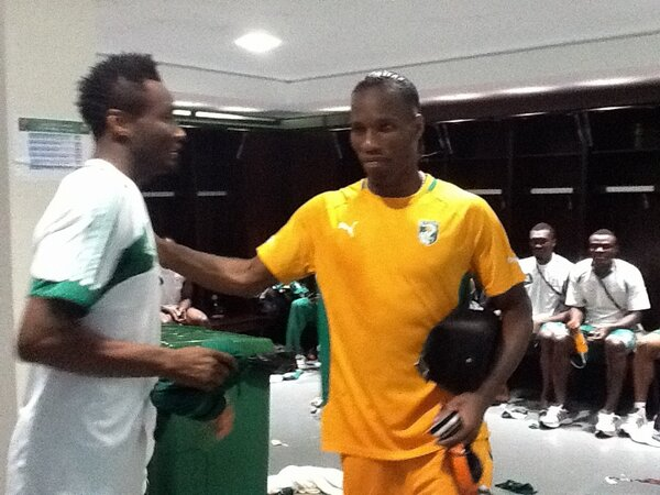 Image Credit: Twitter @PetersideIdah. Drogba Arrives Inside the Eagles Dressing Room Following Ivory Coast's 2-1 Loss to Nigeria in the Quarter-Finals of Afcon 2013.
