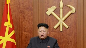 North Korean leader Kim Jong-Un delivering his New Year's Day address in Pyongyang. Picture: AFP