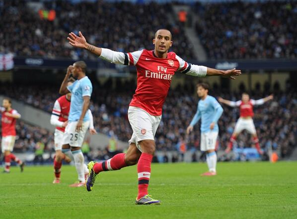 Walcott celebrates His Goal Against Man City in January 2014. Image: Getty.