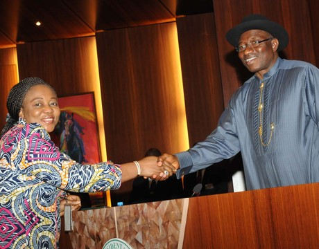 NEW SPECIAL ADVISER TO THE PRESIDENT  ON NEPAD, FIDELIA NJEZE   BEING CONGRATULATING BY PRESIDENT GOODLUCK JONATHAN AFTER TAKING OATH OF OFFICE AT THE PRESIDENTIAL VILLA IN ABUJA ON WEDNESDAY(12/2/14).