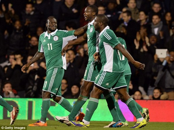 Bright Dike, Shola Ameobi and Victor Moses Celebrates Nigeria's Leveler Against the Azzuris of Italy in an International Friendly at Craven Cottage. Getty Image.