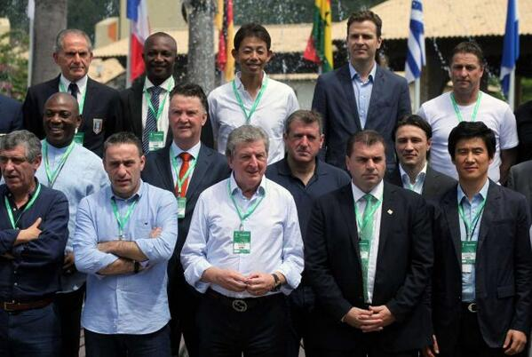 Stephen Keshi and Black Stars Coach Kwesi Appiah Pose With Other National Team Delegates at the World Cup Seminar in Florianopolis. Image: AP.