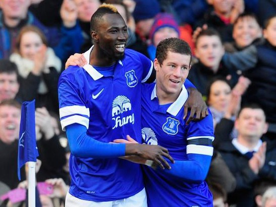 Lacina Traore Celebrates With Ross Barckley After Scoring on his debut in the FA Cup victory over Swansea.