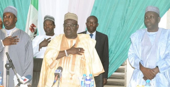 FROM LEFT: GOV. MUKHTAR YERO OF KADUNA STATE; GOV. BABANGIDA ALIYU OF NIGER AND DEPUTY GOVERNOR OF KATSINA STATE, ALHAJI ABDULLAHI FASKERE, AT A NORTHERN GOVERNORS FORUM  MEETING IN KADUNA.