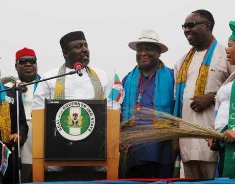 FROM LEFT: FORMER GOVERNOR OF ANAMBRA, SEN. CHRIS NGIGE; GOV. ROCHAS OKOROCHA OF IMO; FORMER PDP SENATOR REPRESENTING ORLU WEST, SEN. OSITA IZUNASO; FORMER NATIONAL SECRETARY, ALL NIGERIA PEOPLES PARTY (ANPP), CHIEF GEORGE MOGHALU AND OTHERS AT THE ALL PROGRESSIVES CONGRESS (APC) REGISTRATION IN ORLU ON THURSDAY (6/2/14).