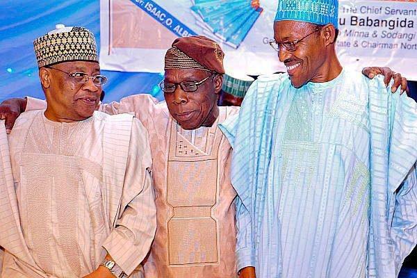 file photo: IBB with former heads of state Olusegun Obasanjo amd Muhammadu Buhari