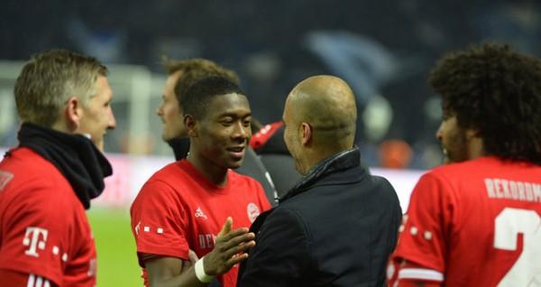 Pep Guardiola and David Alaba Shares Pleasantries After Bayern Munich Clinched  Their 24th Bundesliga Title at Hertha Berlin.