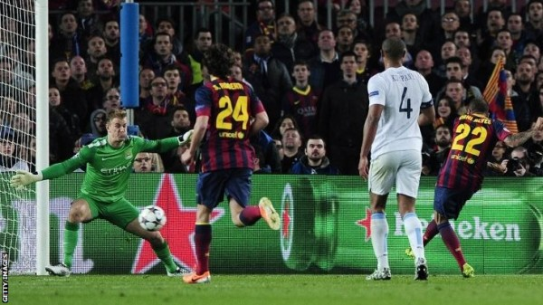 Vincent Kompany Was Outstanding for City in Their 2-1 Loss at the Camp Nou. Getty Image.