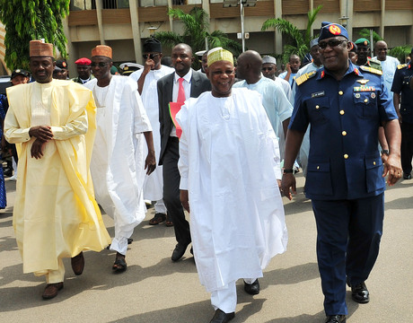 FROM LEFT: FORMER SUPERVISING MINISTER OF DEFENCE, MR LABARAN MAKU; PERMANENT SECRETARY, ALHAJI  ALIYU  ISMA'ILA; THE NEW MINISTER, RETIRED GEN. ALIYU GUSAU AND CHIEF OF DEFENCE STAFF, AIR CHIEF MARSHAL ALEX  BADEH, AT THE ASSUMPTION OF OFFICE BY THE NEW MINISTER OF DEFENCE IN ABUJA ON FRIDAY (7/3/14).