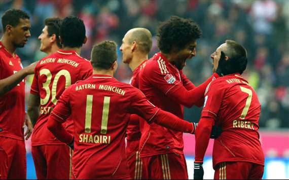 Bayern Munich Players Celebrates Franck Ribery's Goal During a League Game. Getty.