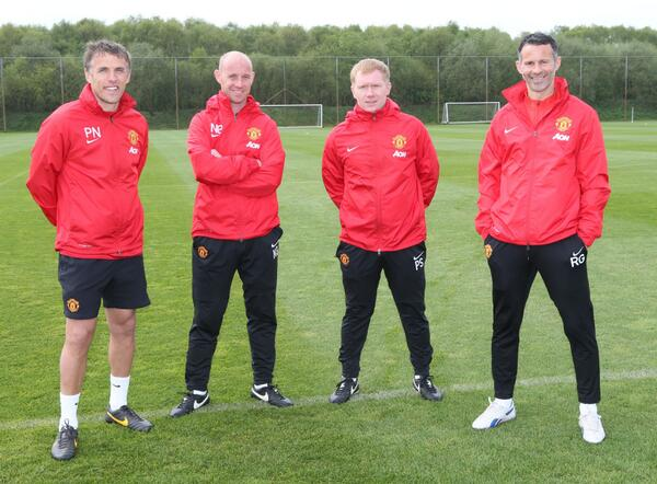 'Class of 92': Ryan Giggs, Paul Scholes, Nicky Butt and Phil Neville at Carrington. Image Credit: Twitter @ManUtd
