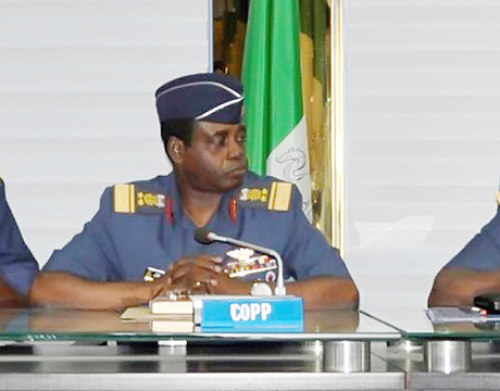 REPRESENTATIVE OF THE CHIEF OF AIRCRAFT ENGINEERING, AIR COMMODORE KAYODE BECKLEY; CHIEF OF AIR STAFF, AIR MARSHAL ADESOLA AMOSU AND CHIEF OF POLICY AND PLANS, AVM JAMES GBUM, AT A MEDIA BRIEFING ON COMMEMORATION OF THE 50TH ANNIVERSARY OF THE NIGERIAN AIR FORCE IN ABUJA LAST MONTH