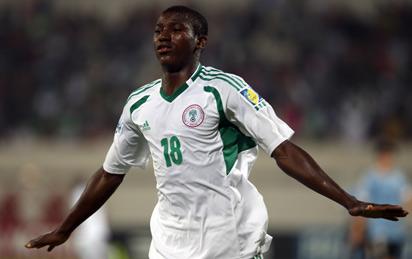 Taiwo Awoniyi Celebrates His Goal Against Uruguay During the 2013 Fifa Under-17 World Cup.