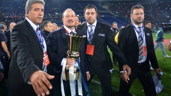 Rafael Benitez Posses for a Snap Shot With His First Trophy as Napoli Boss.