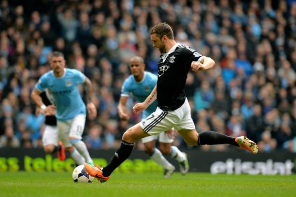 Rickie Lambert Converts a Penalty for Southampton  in a 2013-14 Premier League Clash With Man City. Image: Getty.
