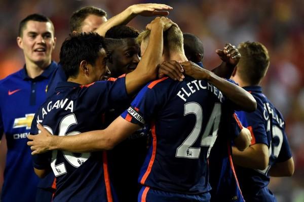 Darren Fletcher and Team-Mates Celebrates Penalty Shootout Win Over Inter Milan in a Pre-Season Friendly. Image: Man Utd.