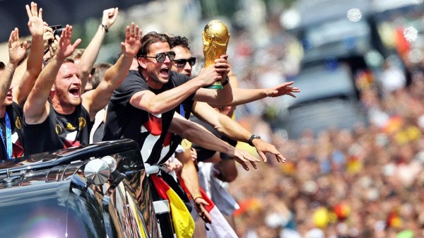Germany Players In Celebration Mood During Their Victory Parade In Berlin. Image: AFP.