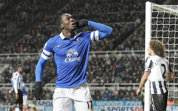 Romelu Lukaku Celebrates Scoring for Everton Last Season.