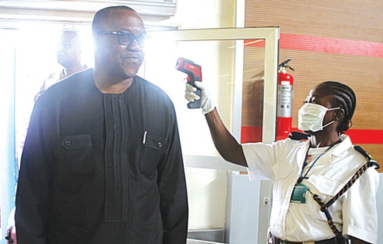 EX-GOV. PETER OBI UNDERGOES SCREENING FOR EBOLA AT ABUJA AIRPORT RECENTLY