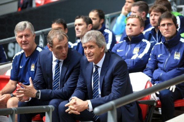 Manchester City Manager Manuel Pellegrini Looks on During the FA Community Shield Defeat By Arsenal.