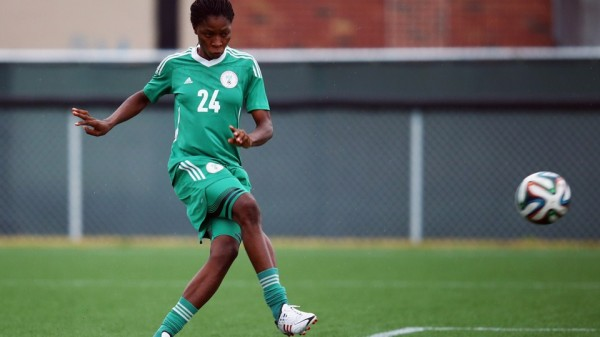 Uchechi Sunday Tries a Short During Falconets Training Session in Moncton. Image: Getty Image.