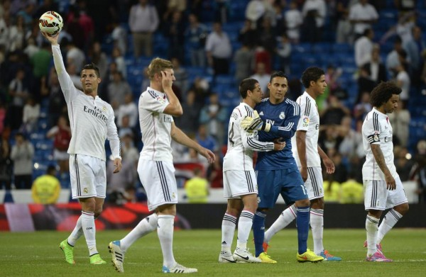 Ronaldo Hoists the Match-Ball After Tuesday Evening's Win Over Elche. I,age: AFP.