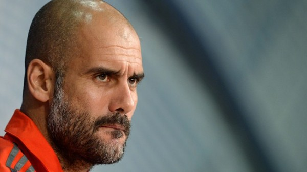 Pep Guardiola Takes Reporters' Questions During the Pre-Game Press Conference Ahead of Group E Opener Against Manchester City. Image: AFP.