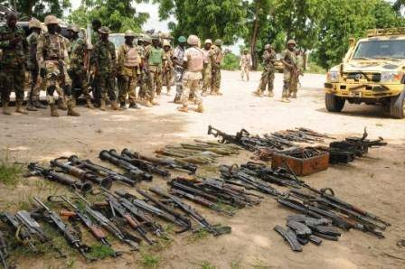 boko haram-seized weapons-soldiers