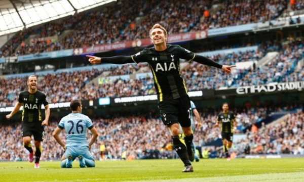 Christian Eriksen Celebrate His Immediate Equaliser at the Etihad. Image: Action.