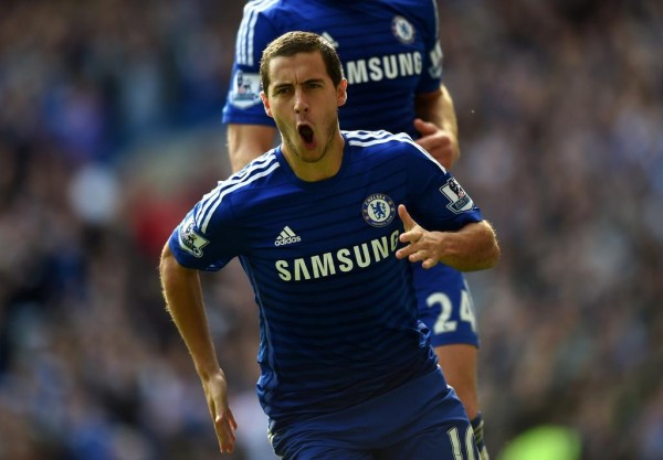 Eden Hazard Celebrates His Second Goal of the Season. Image: Chelsea via Getty.
