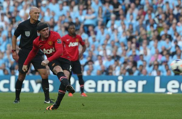 Wayne Rooney's Late Free Kick Was Too Little Too Late as United Lost 4-1 at the Etihad Last Term. Image: Getty.
