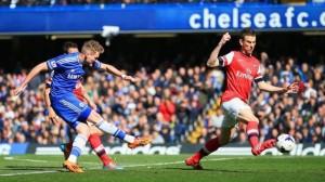 Andre Schurrle Scores Against Arsenal at Stamford Bridge Last Season. Image: Getty.