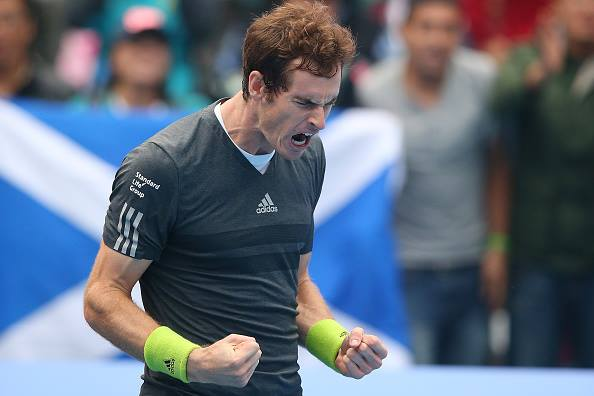 Andy Murray Celebrates After Winning Milos Raonic at the ATP Finals. Image:  Getty.