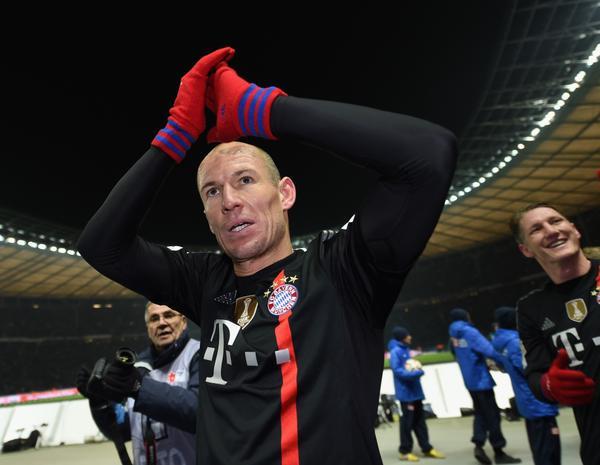 Arjen Robben Celebrates Bayern Munich's Victory at Hertha Berlin. Image: Getty.