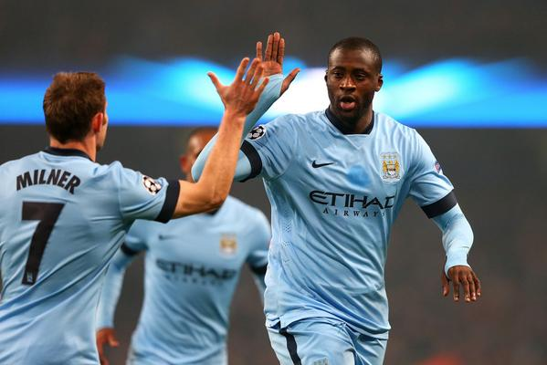 Yaya Toure Celebrates City Equaliser Against CSKA Moscow at the Etihad Stadium. Image: AFP/Getty.