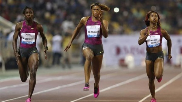 Blessing Okagbare Competing Against Shelly-Ann Fraiser-Pryce in Doha in 2014. Image: Getty.