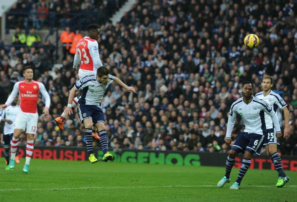 Danny Welbeck Puts a Firm Header Past Ben Forster in Goal for West Brom. Image: AFP.