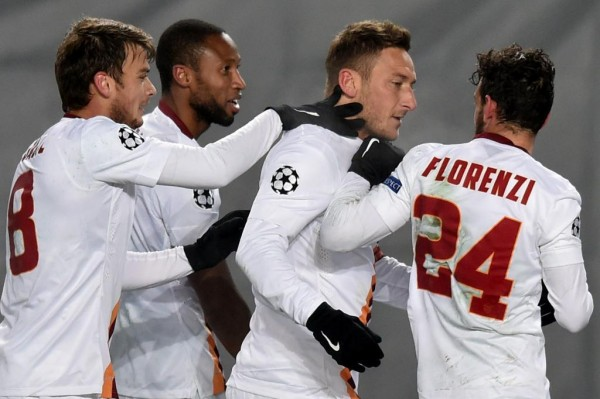 Francesco Totti Celebrates After Scoring the Opener at the Arena Khimki. Image: Getty.