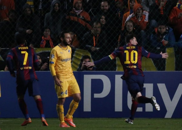 Lionel Messi Celebrates After Scoring His 72nd Career Champions League Goal Against APOEL on Tuesday. Image: Getty.