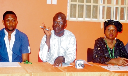 FROM LEFT: PROJECT MANAGER, TRANSITION MONITORING GROUP (TMG), MR LAZARUS APIR, TMG CHAIRMAN, MR IBRAHIM ZIKIRULLAHI AND THE VICE CHAIRMAN, HAJIA LIMOTA GOROSO, AT A NEWS CONFERENCE. PHOTO: NAN